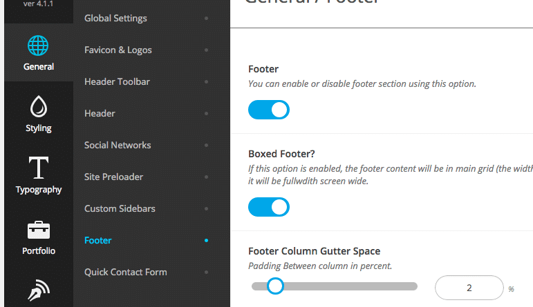 Standard Website - Footer Options