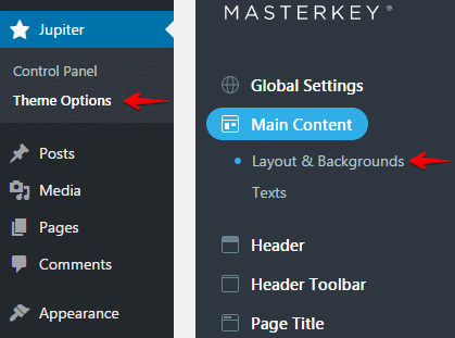 backgrounds styling theme options main content layout
