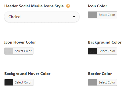 Header styling theme options - social networks style settings