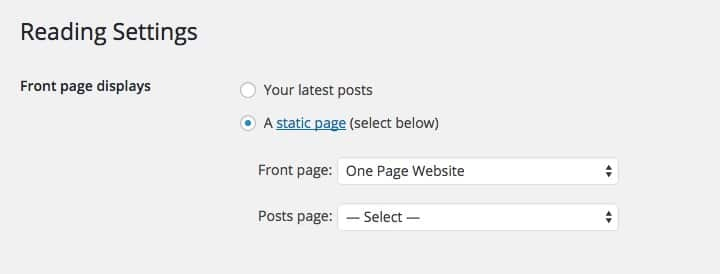 One Page Homepage