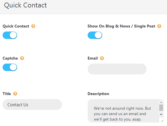 Quick contact form theme options - settings
