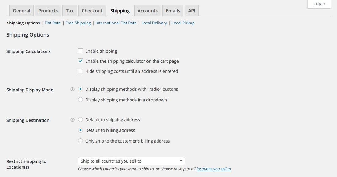Woocommerce Options Shipping