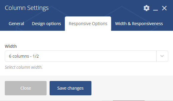 Visual composer column settings - responsive options tab