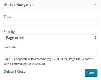 Widgets Sub Navigation