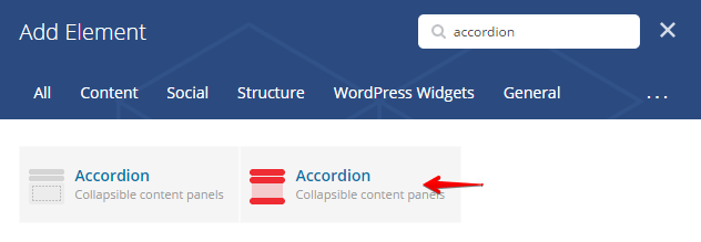 Accordion Shortcode - add element