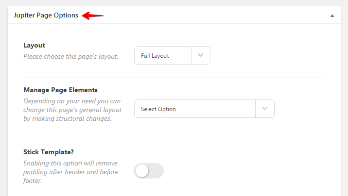 Adding a sidebar - jupiter page options