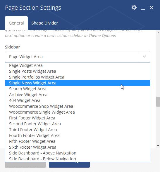 Adding a sidebar - page section sidebar option
