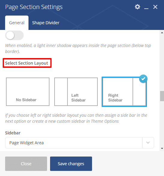 Adding a sidebar - page section settings