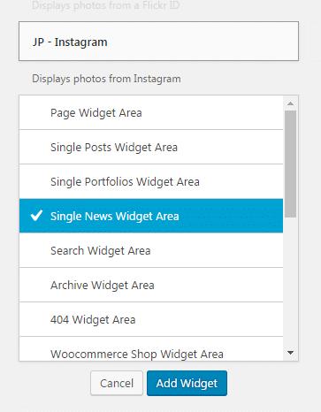Adding widgets to a sidebar - Selecting area
