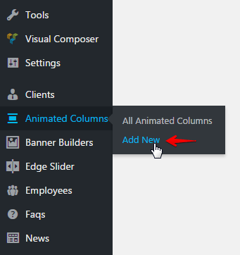 Animated Columns Shortcode - add new