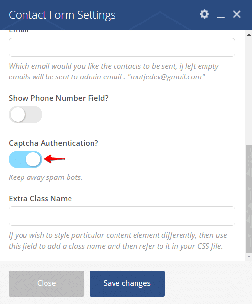 Contact Form Shortcode - configuring captcha