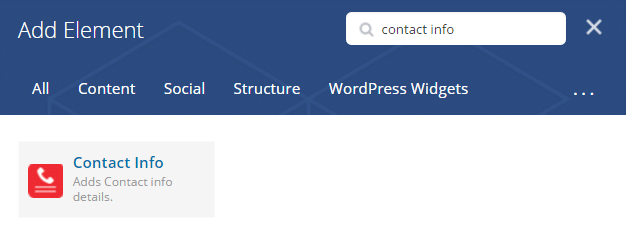Contact Info shortcode - Add element