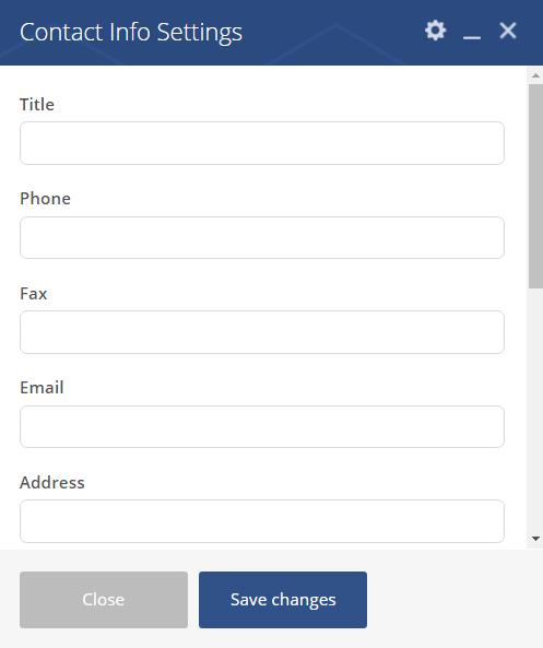 Contact Info shortcode - Contact Info settings