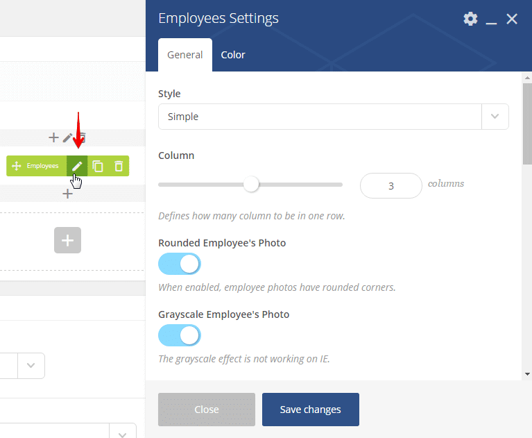 Adding extra CSS class to a shortcode - employees settings