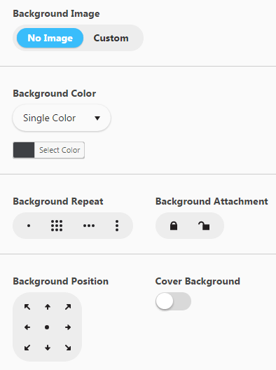 Configuring footer - Background settings