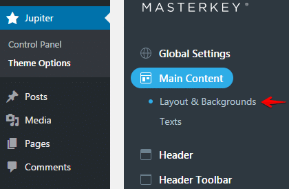 Configuring header type - Layout and Backgrounds