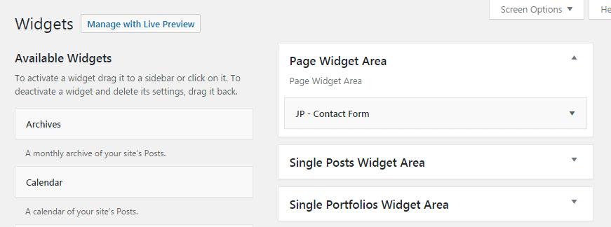 Contact info widget - widget area