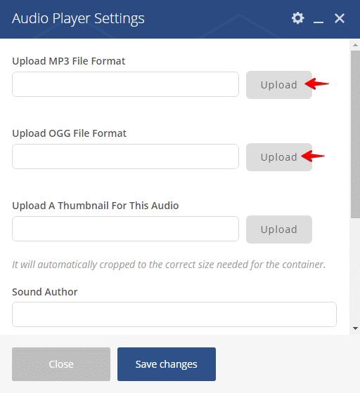 Audio player shortcode - upload