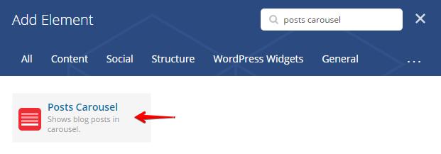 Blog carousel shortcode - Add element