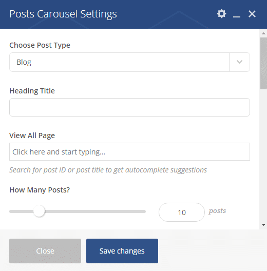 Blog carousel shortcode - Posts carousel settings