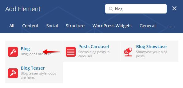 Blog shortcode - Add element