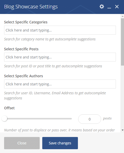 Blog showcase shortcode - Blog showcase settings