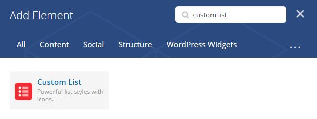 Custom list shortcode - add element