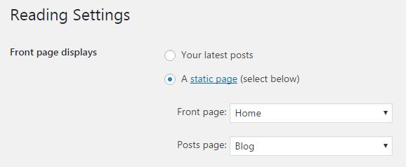 Displaying blog posts - Reading settings