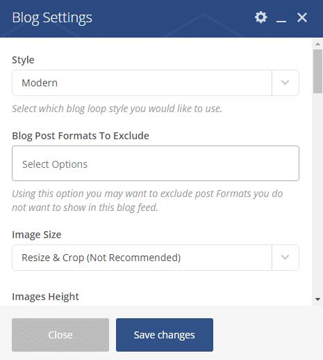 Displaying blog posts - Blog settings