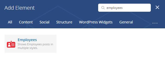 Employees shortcode - add element