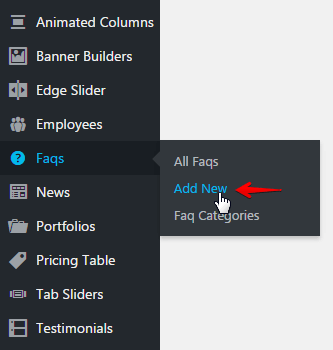 FAQ shortcode - add new post