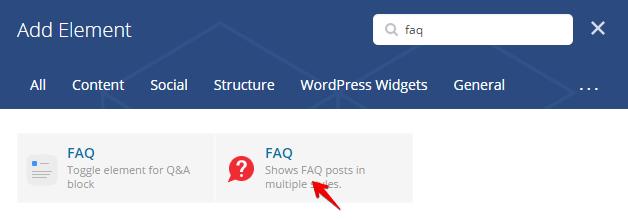 FAQ shortcode - add element