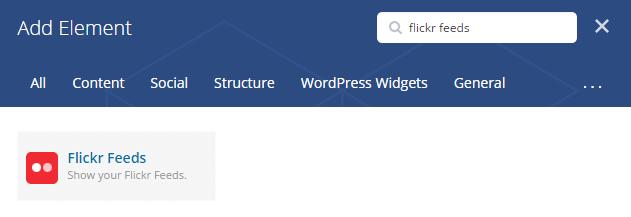 Flickr feeds shortcode - add element