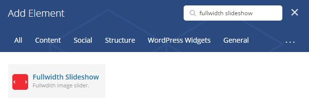 Fullwidth slideshow shortcode - add element