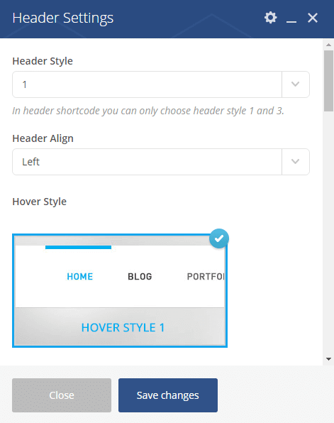 Header shortcode - Header settings