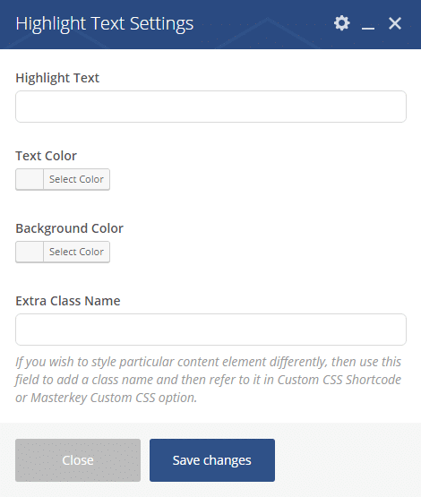 Highlight Text shortcode - Highlight Text settings