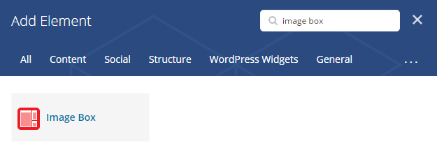 Image box shortcode - add element