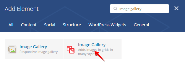 Image gallery shortcode - add element