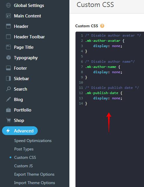 Inserting custom css codes - custom css code