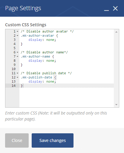 Inserting custom css codes - page settings custom css code