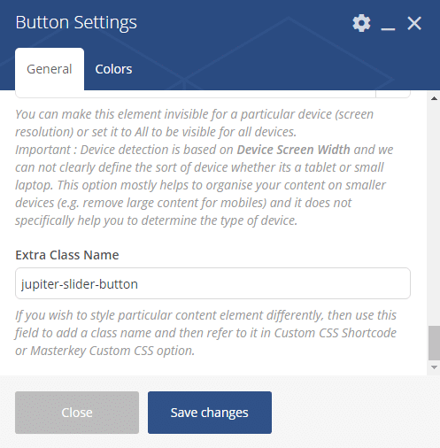 Inserting shortcodes into sliders - button settings