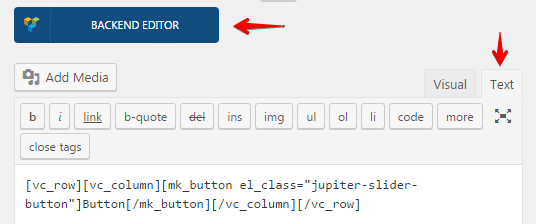 Inserting shortcodes into sliders - shortcode text