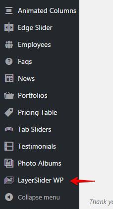Layerslider shortcode - menu