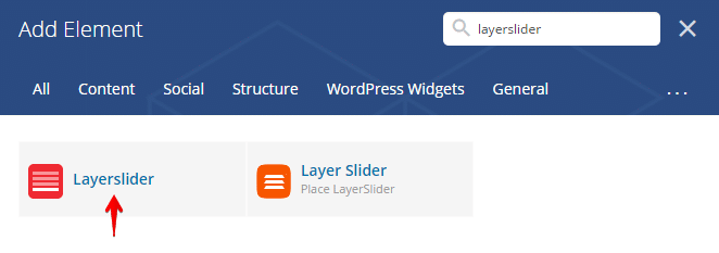 Layerslider shortcode - search