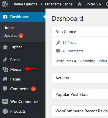 Mini slideshow widget - media menu