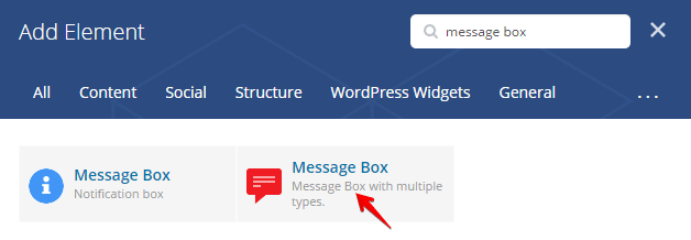 Message Box Shortcode - add element