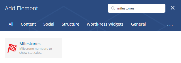 Milestones shortcode - add element