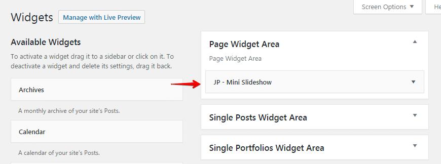Mini slideshow widget - widget area
