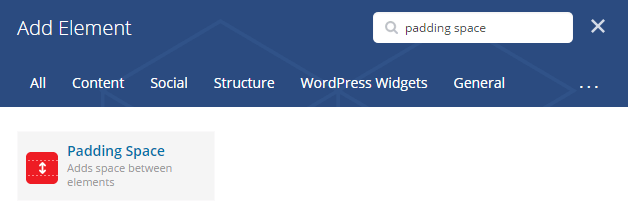 Padding Space shortcode - add element