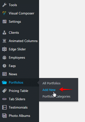 Creating a portfolio post - Add new